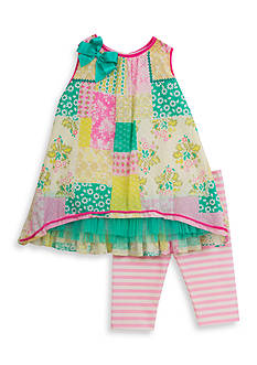 Rare Editions 2-Piece Patchwork Top And Capri Set Toddler Girls