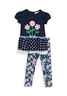 Rare Editions Floral Top and Legging 2-Piece Set Toddler Girls