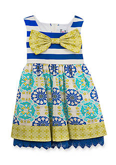 Rare Editions Multi Print Lace Dress Toddler Girls