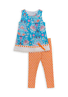 Rare Editions 2-Piece Floral Top and Capri Set Toddler Girls