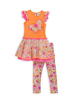 Rare Editions 2-Piece Butterfly Tutu Top And Legging Set Toddler Girls