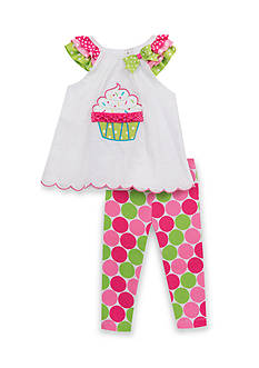 Rare Editions 2-Piece Cupcake Top And Printed Capri Set Toddler Girls