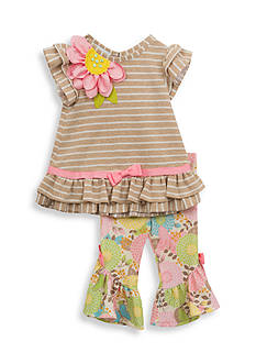 Rare Editions 2-Piece Striped Top And Floral Capri Set Toddler Girls