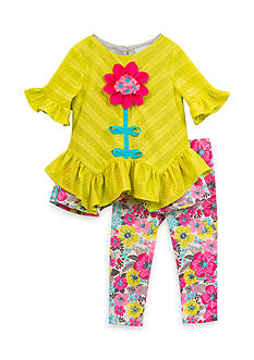 Rare Editions Floral Tunic And Legging Set Toddler Girls