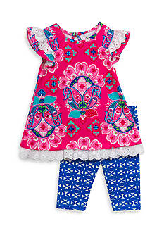 Rare Editions Floral Print Dress And Legging Set Toddler Girls