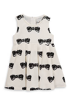 Rare Editions Bow Print Dress Toddler Girls