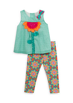 Rare Editions 2-Piece Floral Top And Legging Set Toddler Girls