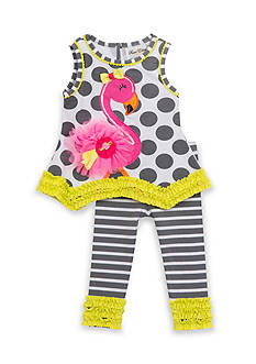 Rare Editions 2-Piece Mixed Media Flamingo Top And Capri Set Toddler Girls