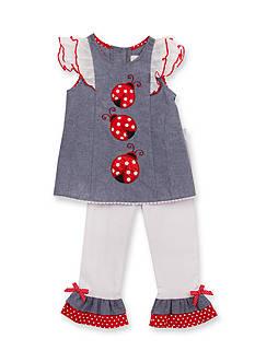 Rare Editions 2-Piece Ladybug Chambray Top and Pants Set Toddler Girls
