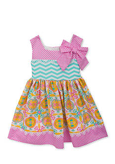 Counting Daisies by Rare Editions Chevron Mixed Print Dress Toddler Girls