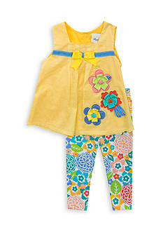 Rare Editions 2-Piece Clip Dot Top and Floral Legging Set Toddler Girls