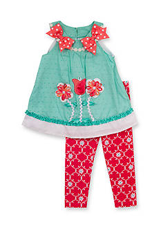 Rare Editions 2-Piece Flower Top and Geo Print Pants Set Toddler Girls