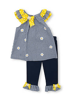 Rare Editions 2-Piece Daisy Seersucker Top and Legging Set Toddler Girls