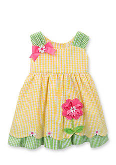 Rare Editions Seersucker Flower Dress Toddler Girls
