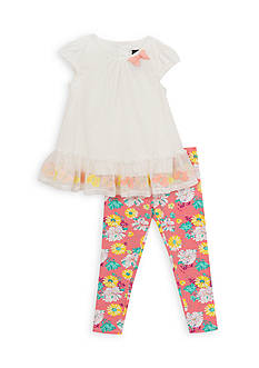 Rare Editions 2-Piece Butterfly Top and Floral Leggings Set