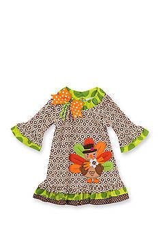 Rare Editions Turkey Geo Print Dress Infant/Baby Girls