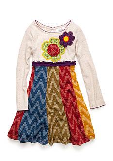Rare Editions Knit Flower Applique Multi Tier Dress Toddler Girls