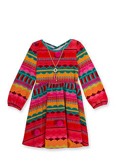 Rare Editions Red Bubble Geo Printed Knit Dress Toddler Girls