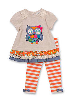 Rare Editions Owl Mixed Media Top and Legging Set Toddler Girls
