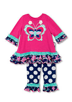 Rare Editions Butterfly and Mixed Dot Ruffle Pant Set Toddler Girls