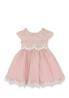 Rare Editions Floral Lace Overlay Social Dress Toddler Girls