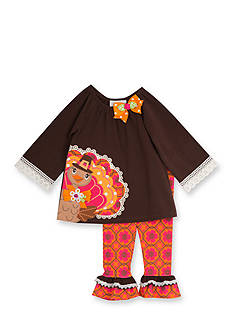 Rare Editions 2-Piece Turkey Shirt and Patterned Leggings Set Toddler Girl