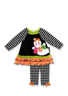 Rare Editions 'Boo' Ghost Top And Printed Legging Set Toddler Girls