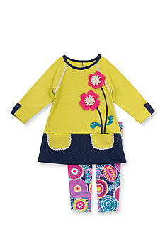 Rare Editions 2-Piece Color Block Smock Shirt and Floral Printed Leggings Set
