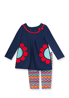 Rare Editions 2-Piece Flower Shirt and Chevron Leggings Set