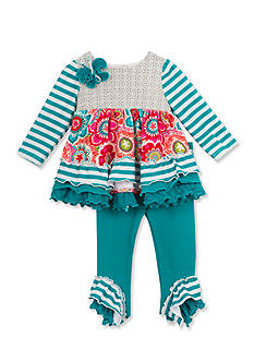 Rare Editions Floral Stripe Knit Set Toddler Girls