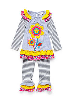 Rare Editions Flower Mixed Stripe Set Toddler Girls