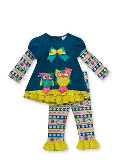 Rare Editions Owl Top and Printed Owl Leggings Set Toddler Girls