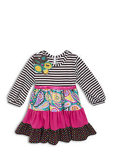 Rare Editions Long Sleeve Multi Print Dress Toddler Girls