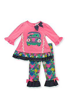 Rare Editions 2-Piece Bus Print Top and Dot Leggings Set Baby/Infant Girl