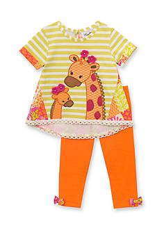 Rare Editions 2 Piece Striped Giraffe Top and Solid Orange Leggings Set Baby/Infant Girl