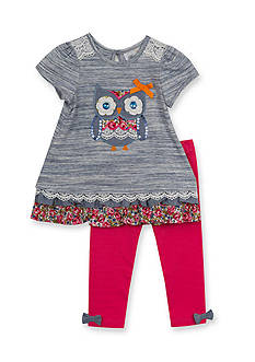Rare Editions 2-Piece Owl Print Shirt and Solid Red Leggings Set Baby/Infant Girl