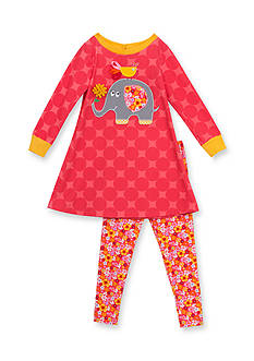 Rare Editions 2-Piece Elephant and Songbird Shirt and Flower Print Leggings Set