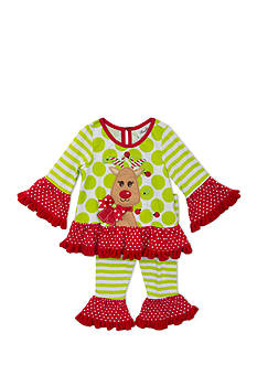Rare Editions 2-Piece Ruffle Reindeer Top and Ruffle Legging Set