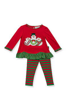 Rare Editions 2-Piece Snowman Shirt and Striped Leggings Set