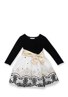 Rare Editions Black and White Velvet Bodice Dress