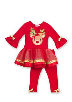 Rare Editions 2-Piece Reindeer Tutu Dress and Leggings Set