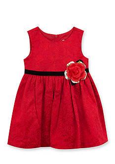 Rare Editions Red Sleeveless Brocade Dress
