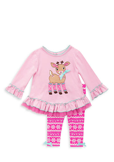 Rare Editions 2-Piece Deer Applique Tunic and Printed Legging Set Toddler Girls