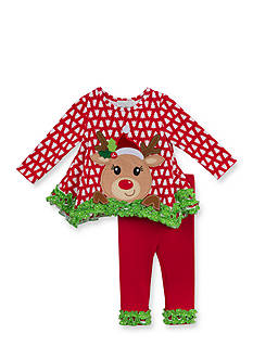 Rare Editions Christmas Tree and Reindeer Applique Tunic & Leggings Set Toddler Girls