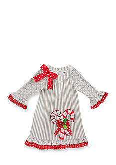 Rare Editions Candy Cane Dress Toddler Girls