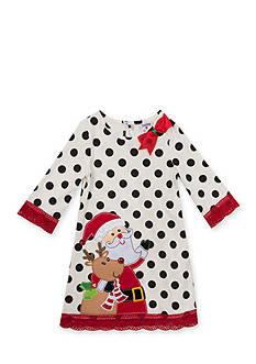 Rare Editions Santa Rudolf Dot Dress Toddler Girls