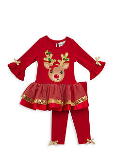 Rare Editions Reindeer Tutu And Legging Set Toddler Girls
