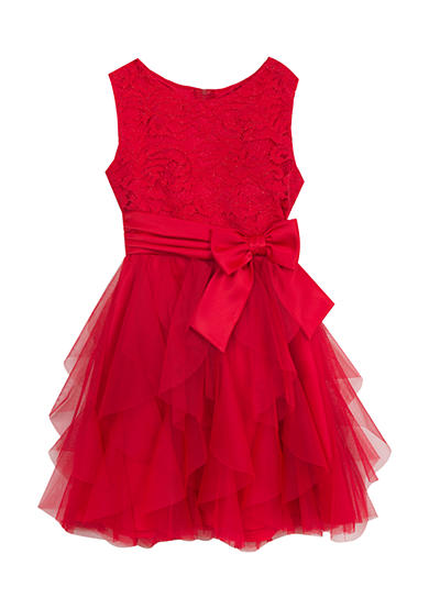 Rare Editions Lace Dress With Cascade Skirt Toddler Girls