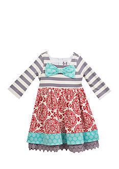 Rare Editions Mixed Media Bow Dress Toddler Girls