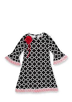 Rare Editions Trellis Print Dress Toddler Girls